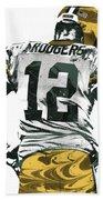 Aaron Rodgers Green Bay Packers Pixel Art 6 Beach Towel