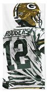 Aaron Rodgers Green Bay Packers Pixel Art 5 Beach Towel