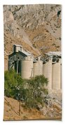 Abandoned Cement Silos Beach Towel