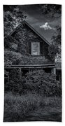 Abandoned Home In Lubec Maine Bw Version Beach Sheet