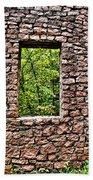 Abandoned Stone Wall With Window Beach Towel