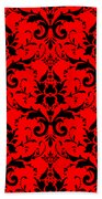 Abby Damask In Black Pattern 02-p0113 Beach Towel