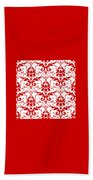 Abby Damask With A White Background 02-p0113 Beach Towel