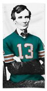 Abe Lincoln In A Dan Marino Miami Dolphins Jersey Beach Sheet