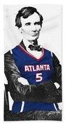 Abe Lincoln In A Josh Smith Atlanta Hawks Jersey Beach Towel