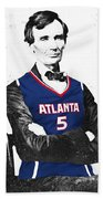 Abe Lincoln In A Josh Smith Atlanta Hawks Jersey Beach Sheet