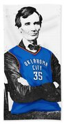 Abe Lincoln In An Kevin Durant Okc Thunder Jersey Beach Sheet