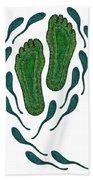 Aboriginal Footprints Green Transparent Background Beach Towel