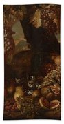 Abraham Brueghel After, Girl With Grapes And Still Life With Fruit. Beach Towel