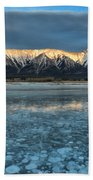 Abraham Lake Ice Bubble Sunset Beach Towel