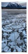 Abraham Lake Ice Bubbles Beach Towel