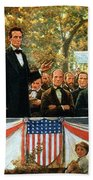 Abraham Lincoln And Stephen A Douglas Debating At Charleston Beach Towel by Robert Marshall Root