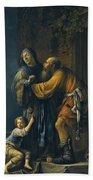 Abraham Pleading With Sarah On Behalf Of Hagar Beach Towel