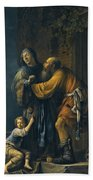 Abraham Pleading With Sarah On Behalf Of Hagar Beach Sheet