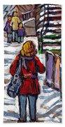 En Route Vers L'ecole Escaliers De Montreal Scenes De Ville Peintures A Vendre Beach Towel