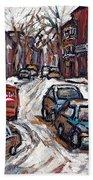 Ville Emard En Peinture Scenes De Ville De Montreal En Hiver Petit Format A Vendre Beach Towel