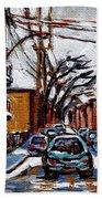 Plateau Mont Royal Scenes De Rue De Montreal En Hiver Rue Napoleon Petit Format A Vendre Beach Towel