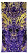 Abstract Amethyst  With Gold Marbled Texture Beach Towel