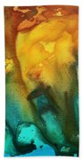 Abstract Art Colorful Turquoise Rust River Of Rust IIi By Madart Beach Towel