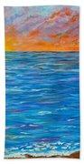 Abstract Art- Flaming Ocean Beach Towel