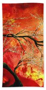 Abstract Art Floral Tree Landscape Painting Fresh Blossoms By Madart Beach Sheet