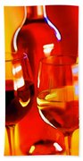 Abstract Bottle Of Wine And Glasses Of Red And White Beach Towel