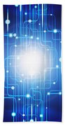 Abstract Circuit Board Lighting Effect  Beach Towel