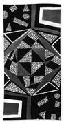Abstract Cobblestone Blk/wht. Beach Towel