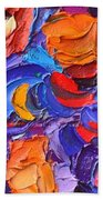 Abstract Colorful Flowers Impasto Palette Knife Modern Impressionist Oil Painting Ana Maria Edulescu Beach Towel