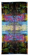 Abstract Digital Shapes Colourful Stained Glass Texture Beach Towel
