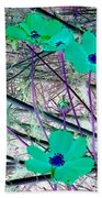 Abstract Flowrs In Green And Blue Beach Towel