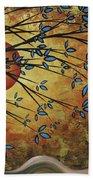 Abstract Golden Landscape Art Original Painting Peaceful Awakening I Diptych Set By Megan Duncanson Beach Towel