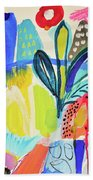 Abstract Jungle And Wild Flowers Beach Towel
