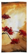 Abstract Landscape Painting Empty Nest 12 By Madart Beach Towel by Megan Duncanson