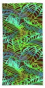 Abstract Leaves Chocolate  Shadows Beach Towel by Karen Dyson