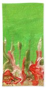 Abstract Mirage Cityscape In Green Beach Sheet by Julia Apostolova