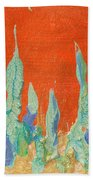 Abstract Mirage Cityscape In Orange Beach Towel by Julia Apostolova