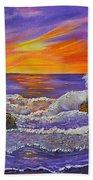 Abstract Ocean- Oil Painting- Puple Mist- Seascape Painting Beach Towel