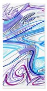 Abstract Pen Drawing Forty-two Beach Towel