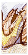 Abstract Pen Drawing Nine Beach Towel