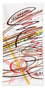 Abstract Pen Drawing Seven Beach Towel