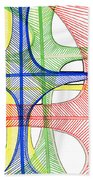 Abstract Pen Drawing Seventeen Beach Towel
