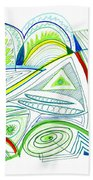 Abstract Pen Drawing Thirty-two Beach Towel