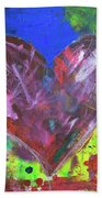 Abstract Red Heart Acrylic Painting Beach Towel