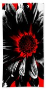 Abstract Red White And Black Daisy Beach Towel