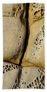 Abstract Rock Pocked With Holes And Divided By Lines Beach Sheet