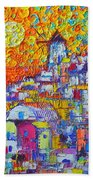 Abstract Santorini Oia Sunset Floral Sky Impressionist Palette Knife Painting  Ana Maria Edulescu Beach Towel