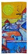 Abstract Santorini Sunset Oia Windmills  Beach Towel