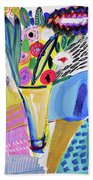 Abstract Still Life With Flowers Beach Sheet