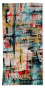 Abstract Teal Crosses Beach Towel
